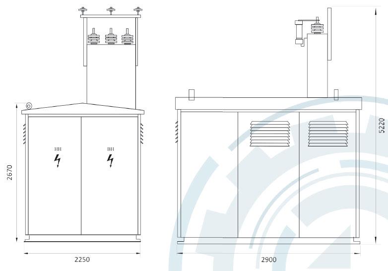 Тупиковая подстанция с воздушным вводом до 630 кВА